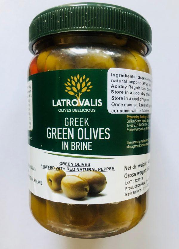 zielone oliwki nadziewane łagodnąpapryką OLIWOWO